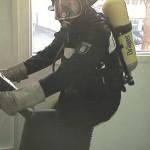 Belastung auf einem Fahrrad-Ergometer (mit einer voreingestellten Watt-Zahl ist eine bestimmte Zeit - abhängig vom Lebensalter - stetig durchzufahren)