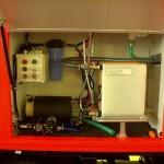 Technikbereich für die Wasseraufnahme und -abgabe. Der formfeste Schlauch kann elektrisch aufgetrommelt werden.