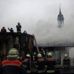 Blick v. d. Einsatzstelle auf den Michel und den Hafen mit der Köhlbrandbrücke