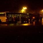Blick von der Rückseite auf den Bus