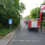 Die Hamburger Einsatzkräfte fahren im Konvoi Richtung Übungsgelände