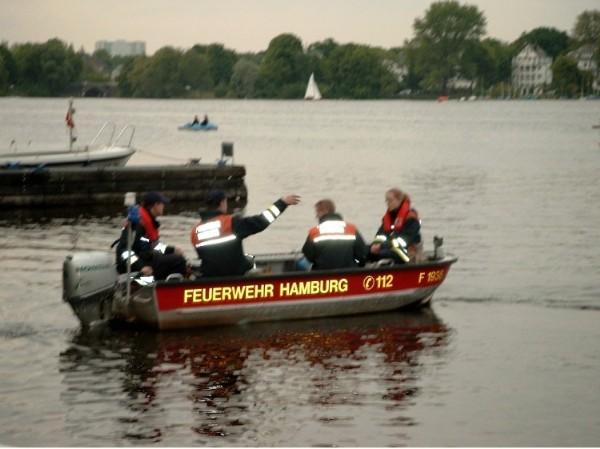 Das Kleinboot Pöseldorf vor dem Einsatz