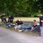 Verletztensammelstelle im angrenzenden Parkgelände