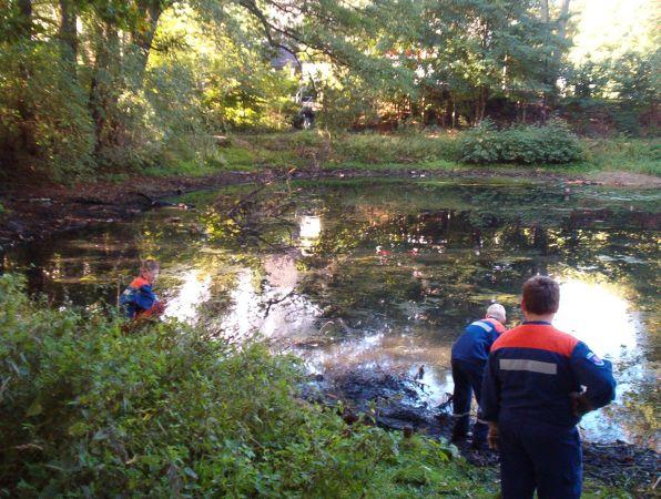 So sah der Teich zu Beginn der Aufräumarbeiten aus