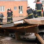 Die Dachhaut wurde vom Dach entfernt
