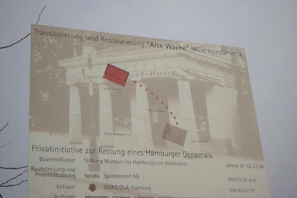 Das Schild erläutert Aktion und Sponsoren, ohne die dieses Unternehmen nicht möglich gewesen wäre.
