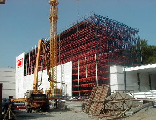 Die Halle kurz vor der Fertigstellung.