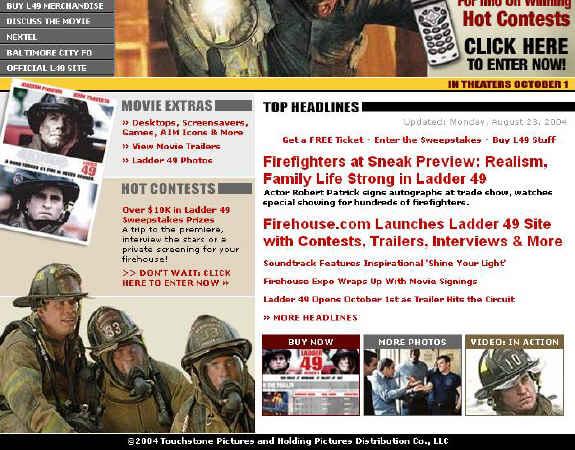 Kinoankündigung unter http://www.firehouse.com/ladder49/