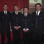 Für langjährige Mitgliedschaft in der Wehr geehrt wurden Andreas Wilkens (1. von links), Thorsten Mein (2. von rechts) und Jens Meissner (1. von rechts). Mathias Baack (2. von links) wurde befördert.