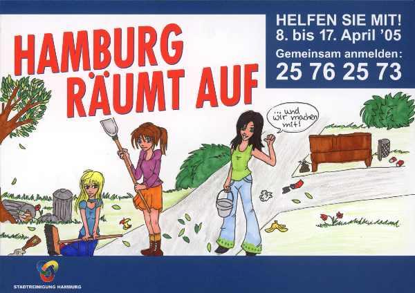 Bild der 11 jährigen Natalie. Teilnehmerin des Malwettbewerbs zu dieser Aktion. Das Bild von Natalie hängt aufgroßen Plakatwänden und auf den Fahrzeugen der Stadtreinigung Hamburg