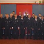Gruppenbild mit Landesbereichsführer Hermann Jonas vor der Wehrführersitzung im Bereich Vierlande.