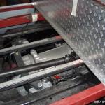 Blick auf den Rahmen und Getriebe/Nebenantrieb