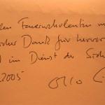 Schriftliche Dankesbekundung an alle deutschen Feuerwehrmitglieder vom Bundesinnenminister Otto Schily