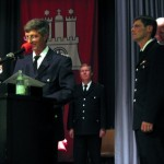 1 Kamerad wurde mit dem Feuerwehrverdienstkreuz in Gold, sowie 3 Kameraden mit dem Feuerwehrverdienstkreuz in Silber geehrt (©Björn Wendt)
