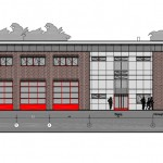Die Vorderansicht des Feuerwehrhauses: Links die FF und rechts der RTW von F36.