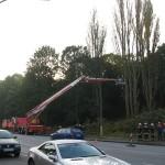 Technisch bedingt konnte der Mast der TMF nicht näher an die Bäume heranfahren. Hier war die Ausladung schon am Maximum.