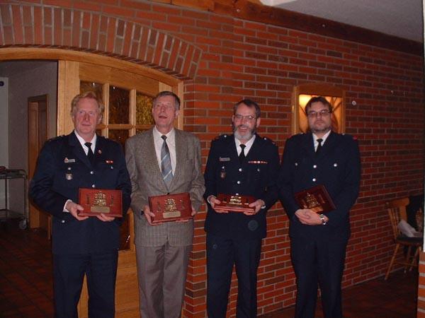 Die ehemaligen DBERF W.Sannmann, W.Abendroth & B.Jansa sowie C.David (v.l.)