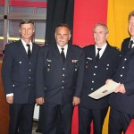 von links: LBF Hermann Jonas, BERF Bergedorf AD Uwe Sturr, LBD Dr. Peer Rechenbach, BERF Bergedorf Bernd Nohdurft<br>Foto: © Peter Becker