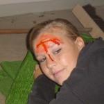 Verletztendarstellerin Rebecca Hoppe. Täuschend echt.