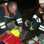 Unter Einsatz der Fluchthaube gerettete Person