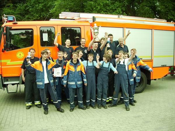 Glückliche Sieger der JF und FF Volksdorf vor ihrem LF 16/KatS