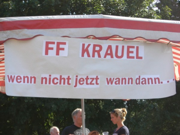 Die Kraueler Mannschaft gab mit diesem Motto eine klare Marschrichtung vor ©L. Rieck