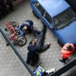 Versorgung eines Verkehrsunfallpatienten aus der Vogelperspektive ©H. Jahn