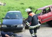 Der Gruppenführer des ersten Fahrzeugs erkundet die Lage. ©L. Rieck