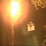 Brandbekämpfung über die DL 25 durch einen Trupp der FF Öjendorf