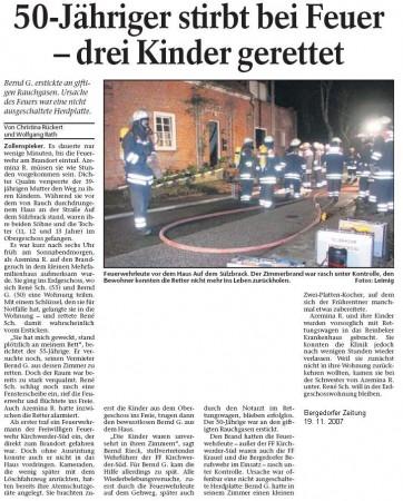 Pressebericht vom 19. 11. 2007. ©Bergedorfer Zeitung