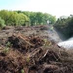 Der 150 Meter lange, 15 Meter breite und 4 Meter hohe Komposthaufen