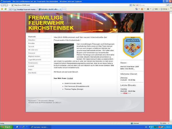 Die neue Website der FF Kirchsteinbek (Screenshot)