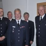 von links nach rechts WF Matthias Proske, LBF-V Süd Werner Burmester, WFV Ingo Hagemann, LBF Hermann Jonas, st. Amtsleiter Herr Lt. Branddirektor Thon