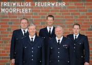 WFV Marco Cholewa, LBF/V Süd Werner Burmester, WF Martin Meyer,Jubilar Helmut Burmester, Bereichsführer Marschlande Sebastian Struss