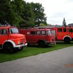 Ehemalige Fahrzeuge und das jetzige LF 16/12 (rechts) - (©D.Frommer)