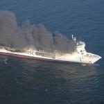 Starke Rauchentwicklung aus Hubschrauberperspektive   Quelle und Copyright: Havariekommando