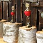 Neben den Gutscheinen die Objekte der Begierde, 3 Pokale für die Plätze und der große Wanderpokal (c) AG MuK