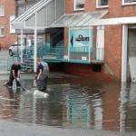 Straßen unter Wasser: Rektor-Ritter Straße, Neuer Weg, Am Pool, und Töpfertwiete. © Christian Timmann