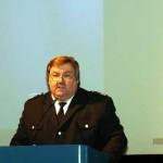 Landesbereichsführer Andre Wronski bei seinem Jahresbericht (siehe Text). (c) AG MuK FF Hamburg