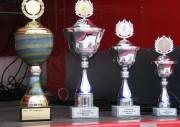 Darum ging es: links der gr. Wanderpokal, rechts die Pokale für die Plätze 1 - 3. Außerdem Gutscheine für Sportanschaffungen von 100-300 €.  (c) AG MuK FF HH