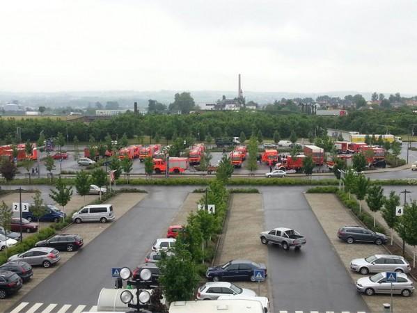 Bereitstellungsraum der Hamburger Kräfte nach Ankunft in Dresden