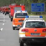 Aus zwei mach ein, 19 Fahrzeuge beim Rückweg. (c) Bereichswebmaster Bergedorf