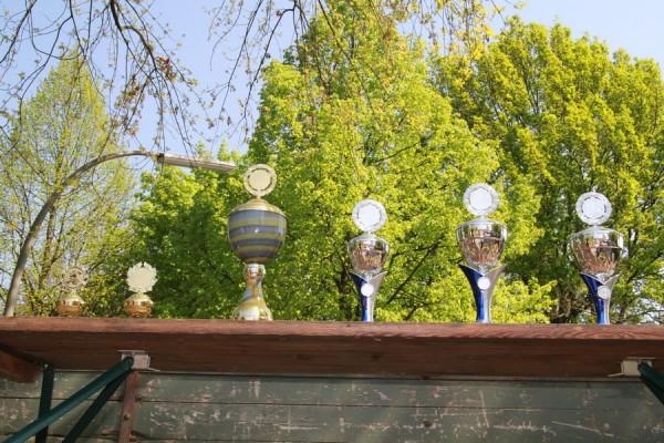 Darum ging es: links der gr. Wanderpokal, rechts die Pokale für die Plätze 1 - 3. Außerdem Gutscheine für Sportanschaffungen von 100-300 €. (c) FF Rönneburg