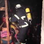 Schadensort nach Freiräumen eines Ganges in den Raum. Alle Arbeiten wurden unter Atemschutz durchgeführt. (c) CT