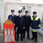 LBF-V Harald Burghart, WF Bernd Rieck, WF-V Sven Gerdau, Oberbranddirektor Klaus Maurer