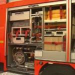 Pallholz/hydr. Rettungsgerätesatz m. Schere u. Spreizer u. Rettungszylindern/pneum. Hebekissensatz, Pedalschneider