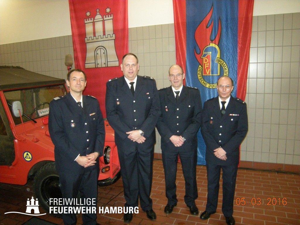 BERF Peter Kleffmann, WF Jörg Eckloff, LBFV Peter Hug und WFV Norbert Kölln (v. links) _ © Fro