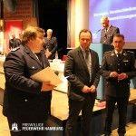 Ehrungen und Auszeichnungen durch LBF Wronski, Senator Grote und Präsident der deutschen Feuerwehr Ziebs (v.l.n.r.)