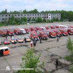 Hamburger Fahrzeugkontingent bei der Orkanübung 2003