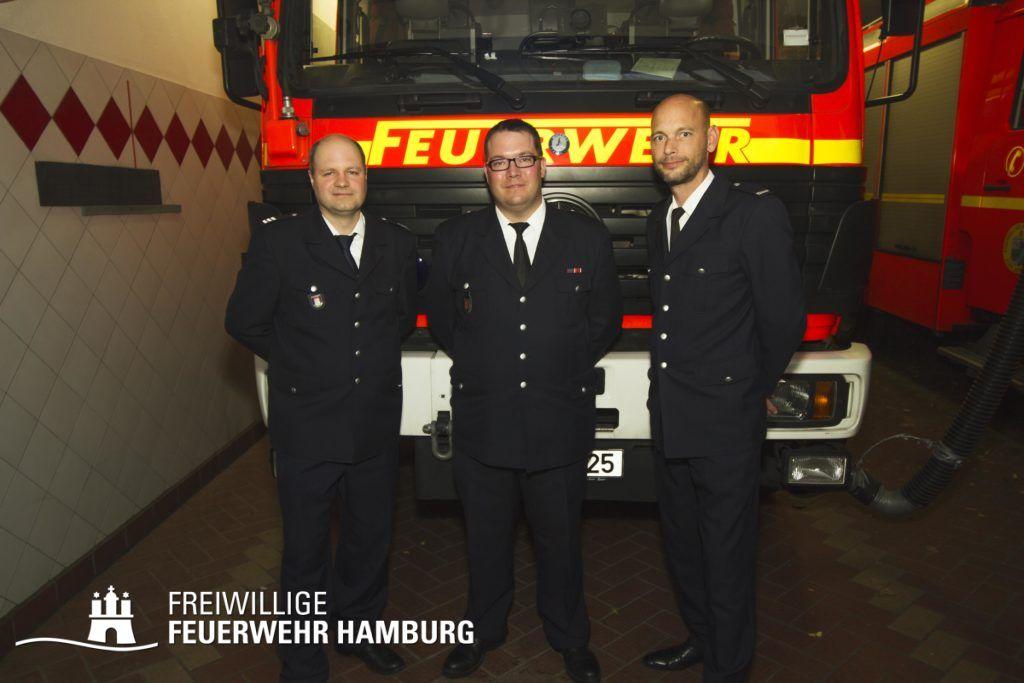 V.l.n.r Bereichsführer Vertreter Nord (195) Olaf Huth, Wehrführer Dennis Funck und Landesbereichsführer Vertreter - Ost-Nord Peter Wegemer
